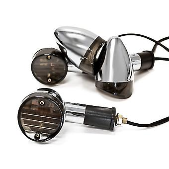 Motorcycle 4 pcs Smoke Bullet Turn Signals Lights Compatible with Honda VT Shadow Ace Classic 500 700 750 1100
