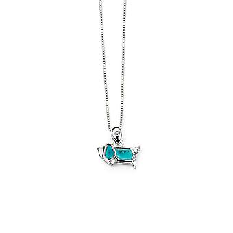 D for Diamond 925 Sterling Silver Childrens Blue Origami Dog Diamond Necklace