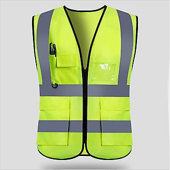 Green Unisex High Visibility Reflective Waterproof Safety Vest