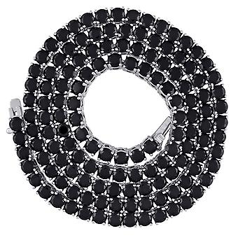 925 sterling sølv unisex svart runde CZ cubic zirconia simulert diamant tennis halskjede 4mm 20 tommers smykker gaver til