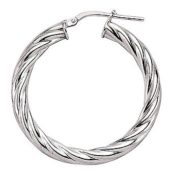 Jewelco London Ladies Rhodium Plaqué Argent Sterling # Twisted Hoop Boucles d'oreilles 33mm