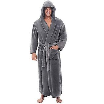 Flanelowa szata męska z kapturem, gruba ciepła suknia szata, szlafrok extra long