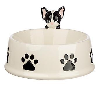 Ciotola per alimenti per animali domestici in ceramica della squadra di cani bulldog francese