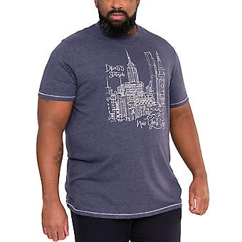 Duke D555 Mens Romford Big Tall King Size New York Print T-Shirt Top Tee - Navy