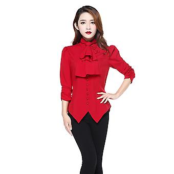 Chic Star Plus Size Tie Steampunk Blouse In Red