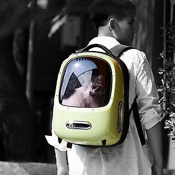 Space capsule inspired travel pet carrier handbag with astronaut bubble window and usb lighting fan