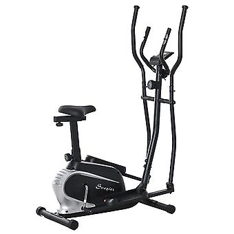HOMCOM Magnetic Elliptical Cross Trainer Cardio Fitness Workout Elliptical Machine Exercise Bike Trainer with Flywheel & LCD Digital Monitor Display Phone Holder, for Home Office Gym Black