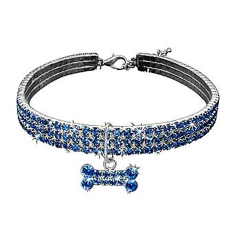 Pet Cats Dogs Puppy Collar Cute Dazzling Elegant Fancy Rhinestone Bone-shaped