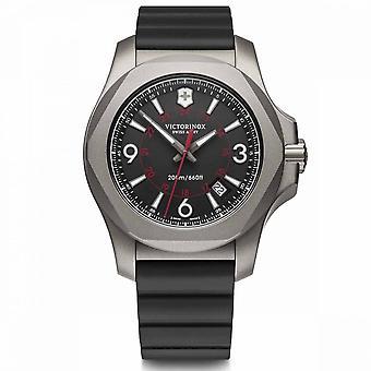 Victorinox Men's Watch I.N.O.X. Titânio, mostrador cinza, pulseira de borracha preta - 43 mm