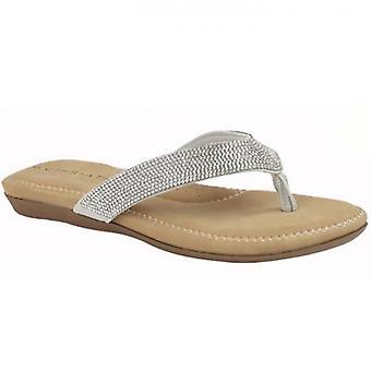 Cipriata Alcee Damer Diamante Toe Post Sandaler Silver