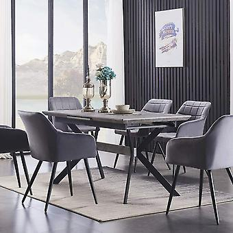Lusso & Romeo: Table & Velvet Chairs Dining Set | Cushion Padded Chairs | Dining Room Ash/black Table | Modern Dining Table | Dining Table Set | (dark Grey)