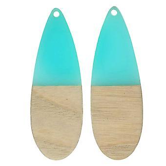 Zola Elements Wood & Resin Pendant, Long Teardrop 19x56mm, 2 Pieces, Sea Green