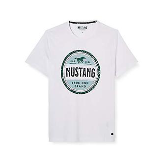 MUSTANG Alex C Print T-Shirt, Vit (Allmänt Vit 2045), X-Stora Män(2)