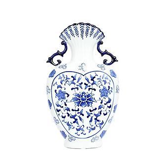 Scallop top dragon ear heart shape floral pattern porcelain vase
