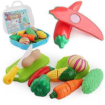 11 PCS simulation cut fruits and vegetables pretend toy suitcase set children's educational
