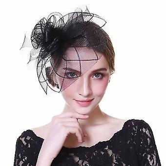 Flower Mesh Bänder, Federn Fedoras Hut - Party Headwear(G)