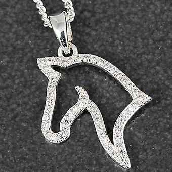 Diamante Horse Head Silver Placed Necklace - Gift Boxed