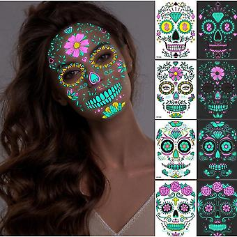 4 Sheets Halloween Tattoos Face Stickers Glow In The Dark