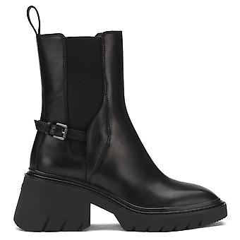 Ash OXFORD Black Leather Heeled Boots