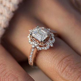זירקוניה טבעת חתונה / אירוסין להגדיר עבור אישה בגודל 11