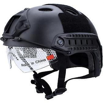 Tactical Helmet With Goggles For Combat Airsoft Paintball Swat Military Black