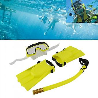 Snorkeling Máscara de Mergulho Respirando Tubo De Longos Flippers 3pcs Snorkels Set
