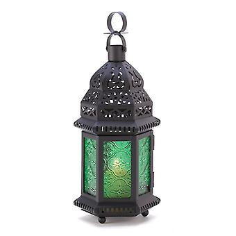 Gallery of Light Emerald Glass Moroccan Candle Lantern - 10 inches, Pack of 1