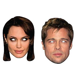 Brad Pitt and Angelina Jolie Official 2D Card Party Fancy Dress Masks Variety 2 Pack