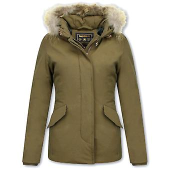 Short Winter Coats With Fur Collar - Coat Dark Green