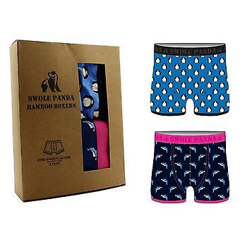 Swole Panda Bamboo Boxers 2 Pack - Penguin/Shark