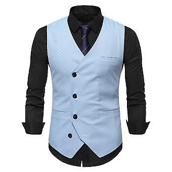 Allthemen Men's High-quality Solid Color Embroidery Slim-fit Oblique Buckle Vest All-match Suit Vest
