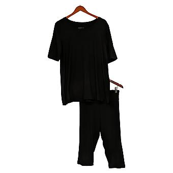 Código de Conforto Conjunto Feminino Reg 2 peças Stretch Jersey Capri Preto 733541
