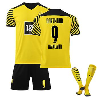 Haaland #9 Jersey Home 2021-2022 New Season Borussia Dortmund Soccer T-shirts Jersey Set For Kids Youths