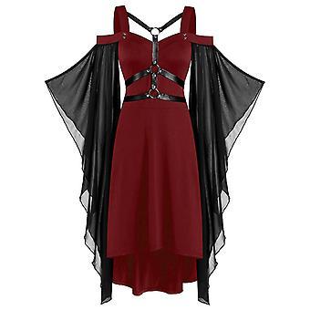 Femmes Halloween Gothique Mesh Flared Sleeve Robe Fancy Costume
