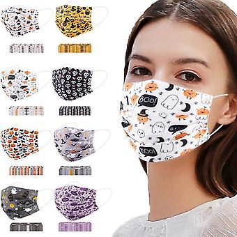 50pcs Halloween Disposable 3-layer Adult Mask