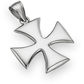 Holy Warrior Cross Pendant, 14K White Gold