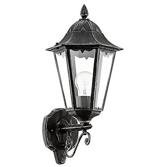 Eglo Navedo 1 Light Outdoor Wall Light Black / Silver IP44