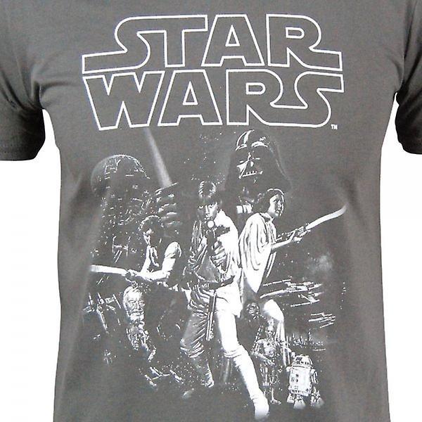 Star Wars Mens Star Wars un nouvel espoir affiche T Shirt Charcoal