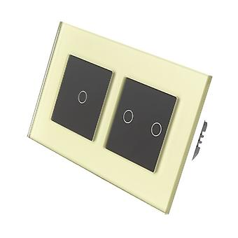 Я LumoS золото стекла Двойная рамка 3 банды 2 способ дистанционного WIFI / 4G сенсорный светодиодный свет переключатель черные вставки