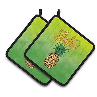 Carolines Treasures  BB7451PTHD Aloha Pineapple Welcome Pair of Pot Holders