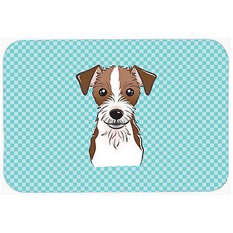 Cojín de ratón del damero azul Jack Russell Terrier, una almohadilla o latas de refrescos