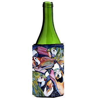 Carolines Treasures  JMK1192LITERK Parrots Wine Bottle Beverage Insulator Hugger