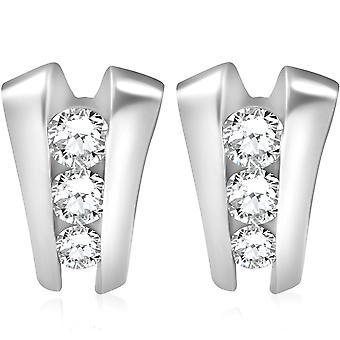 1 3/8 CT 3 pierres de diamants boucles d'oreilles clous 14K White Gold