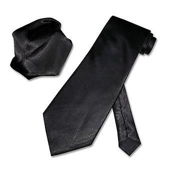 Solid NeckTie & Handkerchief Matching Set Men's Neck Tie