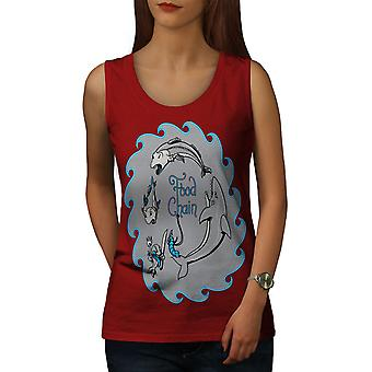 Food Chain Fish Women RedTank Top | Wellcoda