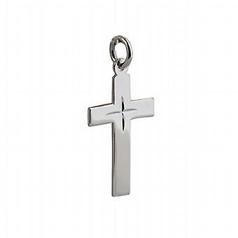 Zilveren 24x14mm diamant geslepen ster platte Latijns kruis