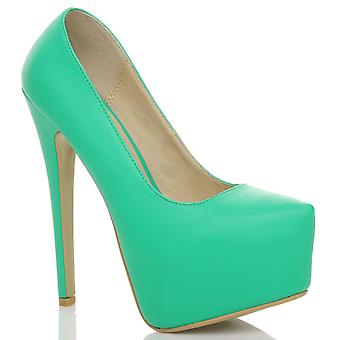 Ajvani para mujer con tacón alto de aguja oculta plataforma partido corte zapatos bombas