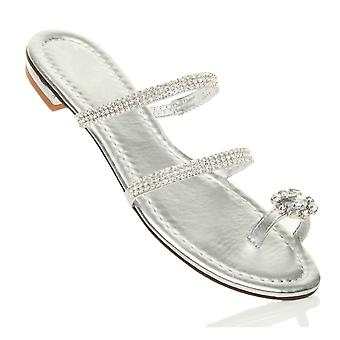Ajvani womens salto liso baixo diamante dedo anel tiras flip-flops sandálias