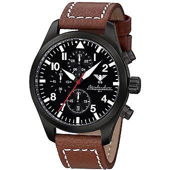 KHS Herrenuhr Airleader zwarte stalen chronograaf KHS. AIRBSC. LB5