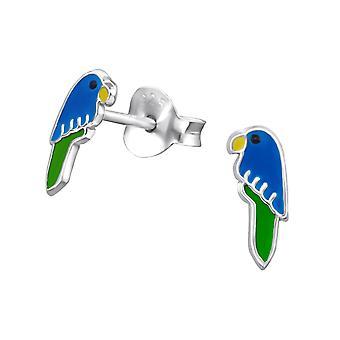 Bird-925 Sterling hopea värikkäät korva napit-W23948X